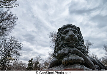 Stone lion - Sculpture of stone lion in Rostov-on-Don,...