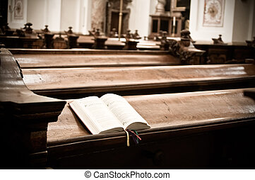 Hymnal in Church - Open Hymnal inside of an austrian Church