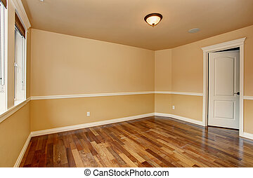 Unfurnished room with hardwood floor. - Unfurnished room...