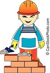 Builder man is building a brick wall - Builder or engineer...