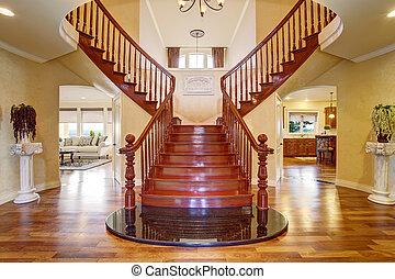 elegante, doble, escalera, con, Un, chandelier., ,