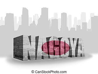 texto, Nagoya, com, nacional, bandeira, de, japan, ,