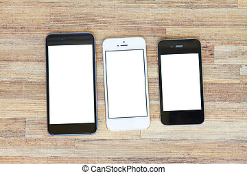 modern computer devices - set of three modern phones with...