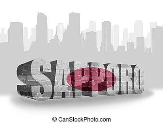 texto, Sapporo, com, nacional, bandeira, de, japan, ,