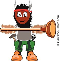 Plumber holding Plunger - A cartoon plumber holding plunger...
