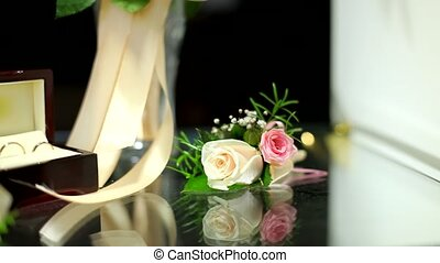 Wedding Accessories - Pile of wedding accessories on the...