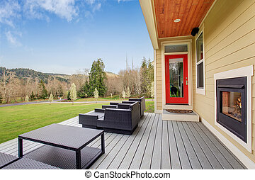 Lovely furnished back deck with fireplace. - Lovely...
