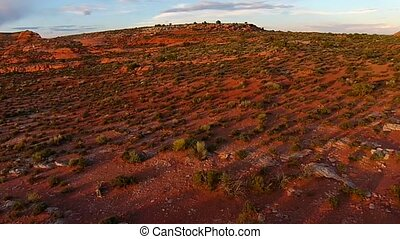 Utah Landscape at Sunset pan right - Utah Landscape Aerial...