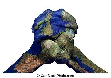 abrochado, Manos, modelado, con, Un, Europa, mapa,...