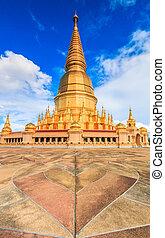 Shwedagon pagoda in Wat Prabudhabaht Huay Toom Lamphun...