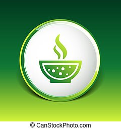 Bowl of Hot Soup with spoon Line Art Icon isolated