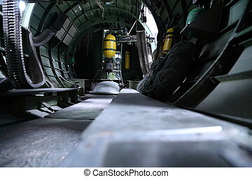 B 17 Bomber interior - In side B17 Bomber view of gunners...