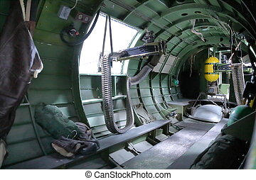 B 17 Bomber guns - In side B17 Bomber view of gunners...