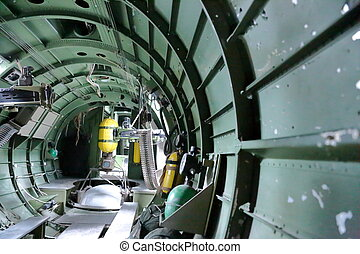 B 17 Bomber war bird - In side B17 Bomber view of gunners...