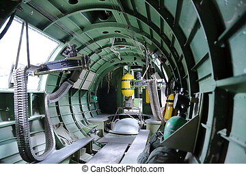 In side B17 Bomber - In side B17 Bomber view of gunners...
