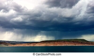 Lightning Strike Lake Powell - Storm clouds Lightning Strike...