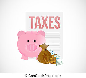 taxes and piggy bank savings concept illustration design...