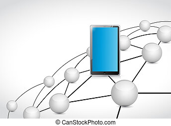 tablet link network connections illustration design graphic
