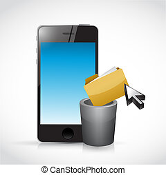 deleting content on a cell phone. illustration design...