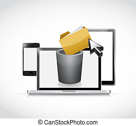 set of electronics and trash bin for content, illustration...