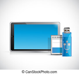 tablet and storage objects illustration