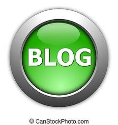 blog - glossy blog button for internet website  on white