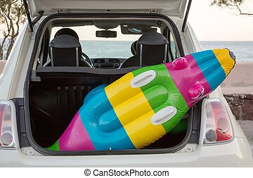 Car Trunk Beach - The car trunk full of beach accessories