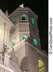 Valladolid - The illuminated Diocese church of Valladolid at...