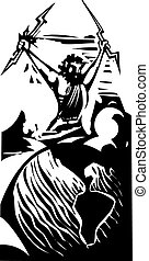 Woodcut Zeus and Earth