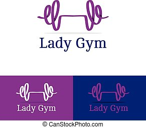 Vector ribbon dumb-bell lady gym logotype. Modern logo in...