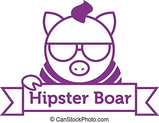 Vector hipster boar in sunglasses outline logotype - Vector...