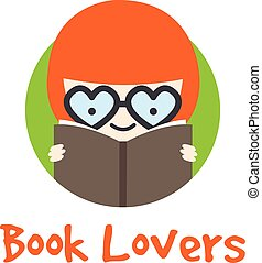 Vector funny girl in glasses logotype. Book store logo.