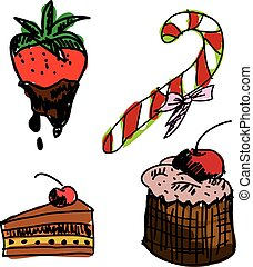 Drawn colored sweet food on white background. Vector...