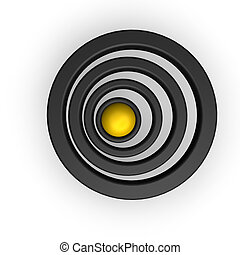 rings - ball and rings on white background - 3d illustration