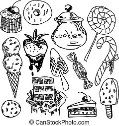 Drawn sweet food on white background, close-up view. Vector...