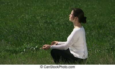 Lotus Pose - A beautiful girl sitting in the lotus position...