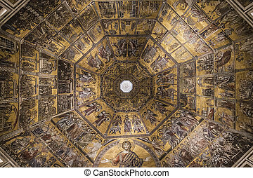 Byzantine mosaics on the dome of the Florence Baptistery