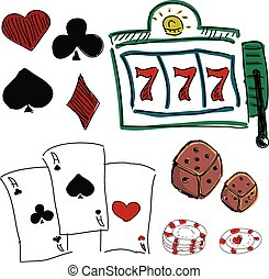 Drawn colorful icons of gambling games