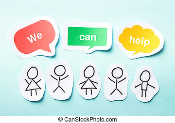 We can help - Happy paper people with speech bubbles of We...