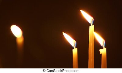 Candles - Close up. The lighted church candles on beautiful...