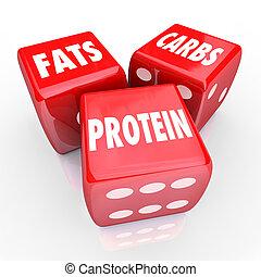 grasas, carbs, proteínas, 3, rojo, dados, alimento,...