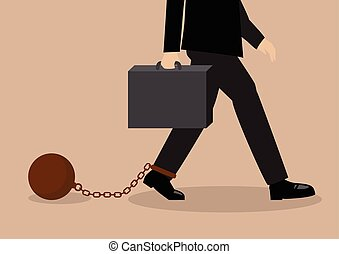 Chained businessman Business situation concept