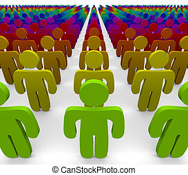 Rainbow Colors - Diverse Group of People - A rainbow of...