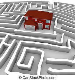 Red Home in Maze - Find Path to Ownership - A red maze sits...