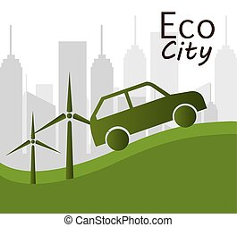 Eco city design, vector illustration - Eco city design,...