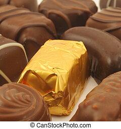 chocolate truffles in a box