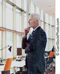 senior business man portrait - Double exposure design....