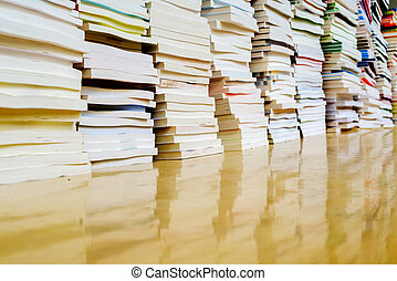 Paperback books - A pile of books, close-up