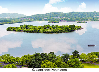 Hangzhou - Aerial View of the West Lake and the city of...