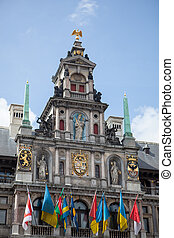 Houses on Grote Markt - Big Market Square in the Antwepen -...